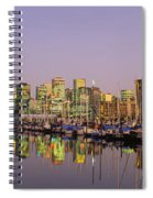 Buildings Lit Up At Dusk, Vancouver Spiral Notebook