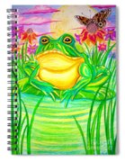 Bull Frog And The Moon Spiral Notebook