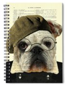 Bulldog Portrait, Animals In Clothes Spiral Notebook