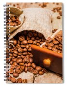 Burlap Bag Of Coffee Beans And Drawer Spiral Notebook