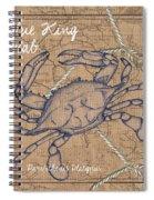 Burlap Blue Crab Spiral Notebook