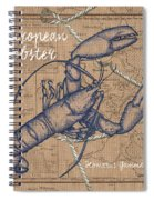 Burlap Lobster Spiral Notebook