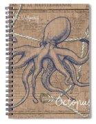 Burlap Octopus Spiral Notebook