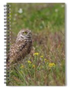 Burrowing Owl And Flowers Spiral Notebook