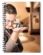 Business Man With Service Bell. Consumer Advice Spiral Notebook