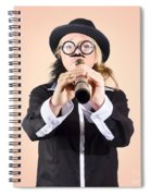 Businessman Looking For Discovery With Telescope Spiral Notebook