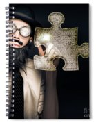 Businessman Puzzle Solving With Digital Solutions Spiral Notebook