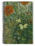 Butterflies And Poppies, 1890.  Spiral Notebook