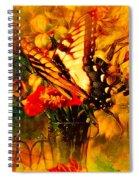 Butterfly Atop Flower Arrangement Spiral Notebook