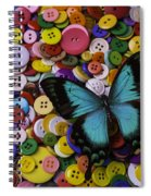 Butterfly On Buttons Spiral Notebook