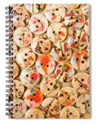 Buttoning A Background Spiral Notebook
