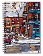 Buy Original Wilensky Montreal Paintings For Sale Achetez Petits Formats Scenes De Rue Street Scenes Spiral Notebook