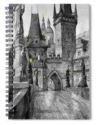 Bw Prague Charles Bridge 02 Spiral Notebook