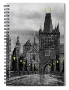 Bw Prague Charles Bridge 04 Spiral Notebook