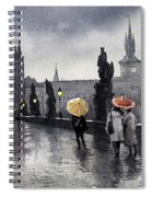 Bw Prague Charles Bridge 05 Spiral Notebook