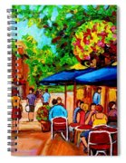 Cafe On Prince Arthur  In Montreal  Spiral Notebook