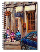Outdoor Cafe Painting Vieux Montreal City Scenes Best Original Old Montreal Quebec Art Spiral Notebook