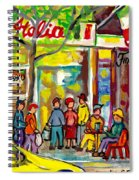 Caffe Italia And Milano Charcuterie Montreal Watercolor Streetscenes Little Italy Paintings Cspandau Spiral Notebook