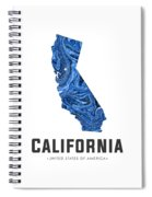 California Map Art Abstract In Blue Spiral Notebook
