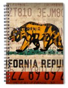 California State Flag Recycled Vintage License Plate Art Spiral Notebook