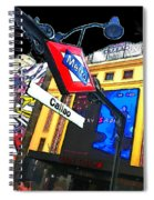 Callao Metro Entrance At Night Madrid Spiral Notebook
