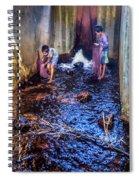 Cambodian Boys Netting Fish Spiral Notebook