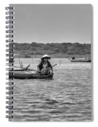 Cambodian Woman In A Boat Spiral Notebook
