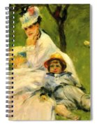 Camille Monet And Her Son Jean In The Garden At Argenteuil 1874 Spiral Notebook
