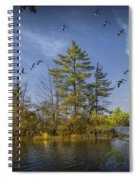 Canada Geese Flying By A Small Island On Hall Lake Spiral Notebook