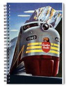 Canadian Pacific - Railroad Engine, Mountains - Retro Travel Poster - Vintage Poster Spiral Notebook
