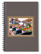 Canal Boats On A Canal In Venice L A S With Decorative Ornate Printed Frame.  Spiral Notebook
