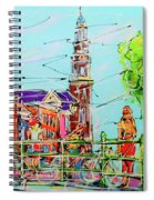 Canal Of Amsterdam, Bridge And Westerkerk Spiral Notebook
