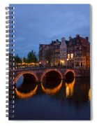 Canals Of Amsterdam At Night Spiral Notebook