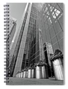 Canary Wharf Financial District In Black And White Spiral Notebook