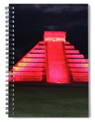 Cancun Mexico - Chichen Itza - Temple Of Kukulcan-el Castillo Pyramid Night Lights 4 Spiral Notebook