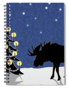 Candlelit Christmas Tree And Moose In The Snow Spiral Notebook
