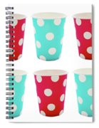 Card With Red And Blue Paper Disposable Glass In Polka Dot Isolated On White With Copy Space Spiral Notebook