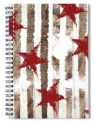 Cardinal Holiday Burlap Star Pattern Spiral Notebook