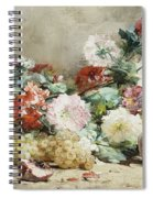 Carnations, Roses, Grapes And Peaches Spiral Notebook