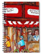 Carole Spandau Paints Montreal Memories - Montreal Landmarks - Schwartzs Hebrew Deli St. Laurent  Spiral Notebook