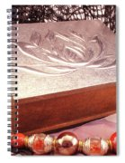 Carved Box In Aluminum. Silver Box And Red Necklace Spiral Notebook