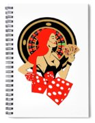 Casino Logo With Red Hair Girl, Dices, Roulette Wheel And Cards, Spiral Notebook
