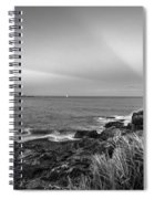 Castle Rock Beach Sunset Sunrays Marblehead Ma Black And White Spiral Notebook