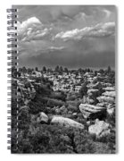 Castlewood Canyon And Storm - Black And White Spiral Notebook