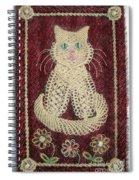 Cat And Flowers. Macrame Art Spiral Notebook