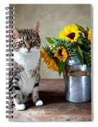 Cat And Sunflowers Spiral Notebook