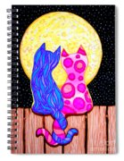 Cat Couple Full Moon Spiral Notebook