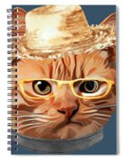 Cat Kitty Kitten In Clothes Yellow Glasses Straw Spiral Notebook