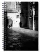 Catching Up On The News In Tarragona Spain Bw Spiral Notebook