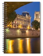 Cathedral Notre Dame And River Seine - Paris Spiral Notebook